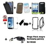Mega Pack Negro para Samsung Galaxy S3 i9300i - Funda tapa Negro + funda silicona Negro Humo + Protector pantalla...
