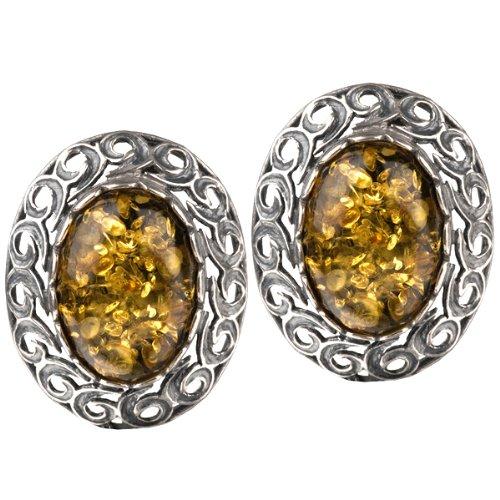 Baltic Green Amber Sterling Silver Stud Vintage Earrings