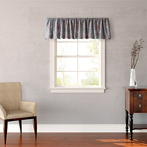 Stone Cottage Ibiza Window Valance, Grey/Red, 86 X 14