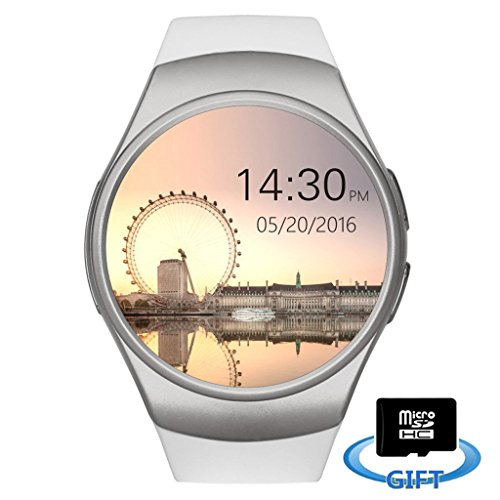Smartlife Bluetooth Wrist Smart Watches with Camera Heart Rate Support SIM TF Card for IOS iPhone Android Samsung Sony LG Smart Phones (White)