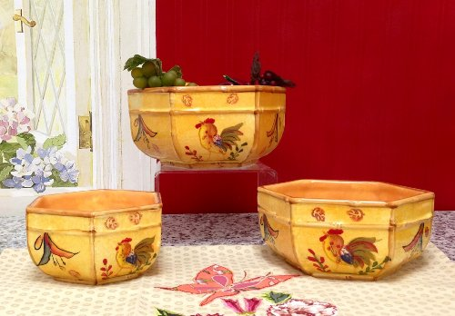 3Pc Mixing Bowls, Serving Bowls Bamboo Rooster back-347449
