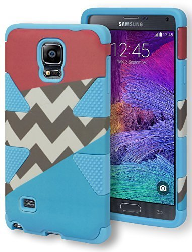 Galaxy Note 4 Case, Bastex Heavy Duty Hybrid Dynamic Protective Case - Soft Blue Silicone Cover