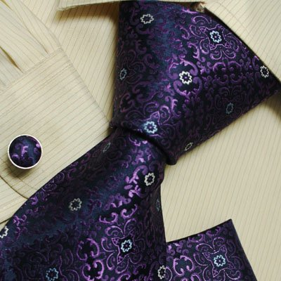 Purple Paisleys men with ties christmas gift silk neck tie cufflinks Handkerchiefs set H5156