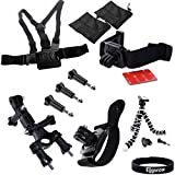Eggsnow Chest Strap + 360 Rotation Vented Helmet Head Strap + 360 Swivel Wrist Strap + Handlebar Seatpost Pole + Octopus Mini Tripod Stand + 3 Screws for Gopro Hero 3+ 3 2 1