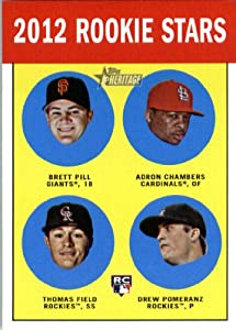 2012 Topps Heritage Baseball Card #208 Brett Pill RC / Adron Chambers RC / Thomas Field RC / Drew Pomeranz RC - San Francisco Giants (RC - Rookie Card (Rookie Stars)