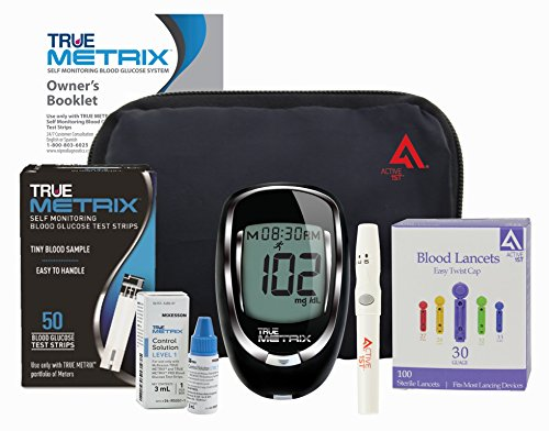 Active1st TrueMetrix Complete Diabetic Blood Glucose Testing Kit, 50 Test Strips, 100 Lancets, Adjustable Lancing Device, Control Solution, Owners Log Book & Manual