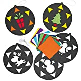 Stained Glass Effect Christmas Hanging Decorations - Pack of 6