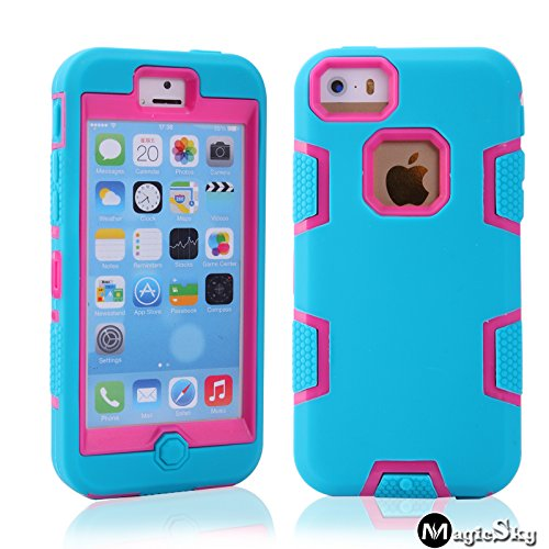 5C Case, Iphone 5C Case Cover, Magicsky Full Body Hybrid Impact Shockproof Defender Case Cover For Apple Iphone 5C, 1 Pack(Hot Pink/Blue)