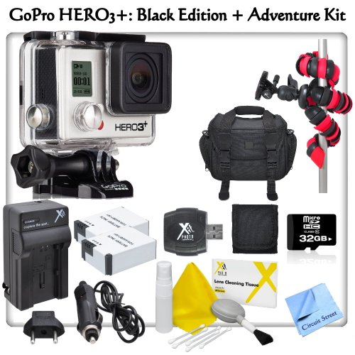 Gopro Hero3+: Black Edition With Cs Starter Kit: Includes 2 High Capacity (1600 Mah)Ahdbt301 Replacement Batteries, Rapid Travel Charger With Car Adapter & Euro Plugs, 32Gb Micro Sd Memory Card, Sd Card Reader, Memory Card Wallet, Pro Series Carrying Case