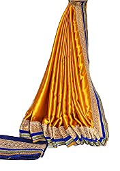 KC Indian Latest Saree Designer Satin with New Border with Contrast Dhupion Blouse On Sale Price