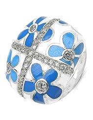 14.60Grams White Cubic Zircon .925 Sterling Silver Blue & White Enamel Ring