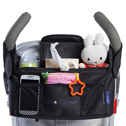 Great Deal! MONSTAR Stroller Organizer & Bottle and Diaper Bag - Universal Fit Stroller Storage ...