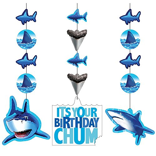 Creative Converting Shark Splash Hanging Decorations, 3 Pack