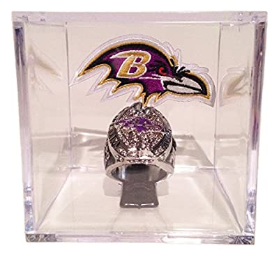 Baltimore Ravens 2012 Super Bowl Ring In Display Cube - Joe Flacco Replica w/ Plaque & Logo Patch - Ravens Football Sports Memorabilia - Ships from USA