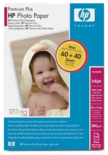 HP Premium Plus Photo Paper Papier photo satin mat 100 x 150 mm 100 x 150 mm - 280 g/m2 - 100 feu...