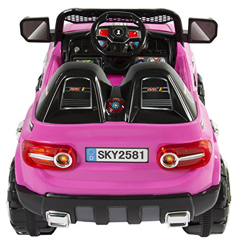 best choice products 12v mp3 kids ride on truck car rc remote control led lights aux and music pink