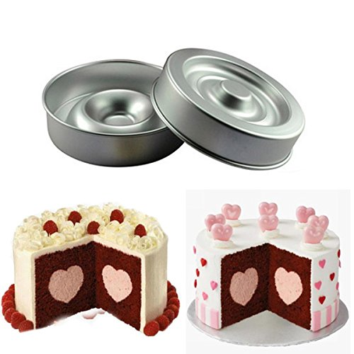 Shop24Hrs Heart Shape Layer Cake Pan Mold Aluminum Cake Pans 8 Inch (Woody Cake Pan compare prices)