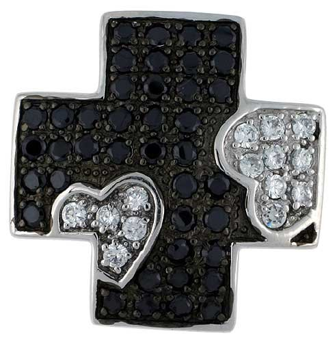 Sterling Silver Greek Cross Pendant w/ Heart Design, w/ Brilliant Cut Clear & Black CZ Stones, 1 1/16 inch (27 mm) tall, w/ 18