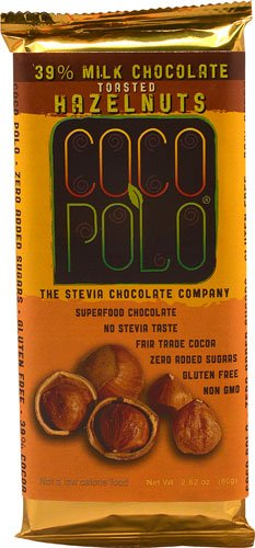 Coco Polo 39% Cocoa Milk Chocolate Bar Sweetened with Stevia Hazelnut -- 2.82 oz - 2 pc (Stevia Hazelnut Chocolate compare prices)