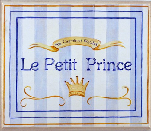 The Kids Room by Stupell Le Petit Prince Blue Striped Square Wall Plaque