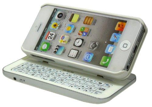 ホワイト 着脱角度調節可能! iPhone5 Bluetooth キーボード スライド式 ケース カバー OKEWL ma-iphone5-002wh