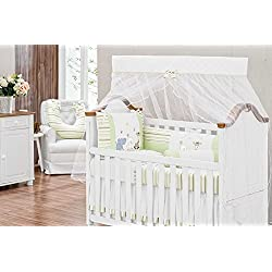 Zoo Themed Green Baby Boy/Girl 10 Pcs Nursery Crib Bedding Set Embroidered
