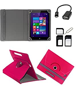 ECellStreet ROTATING 360° PU LEATHER FLIP CASE COVER FOR Adcom 740C 7 INCH TABLET STAND COVER HOLDER - Dark Pink + Free OTG Cable + Free Sim Adapter Kit