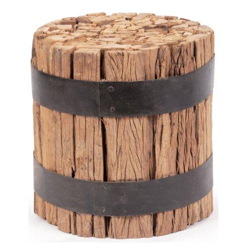 Cheap Lodge Cabin Rustic Reclaimed Wood Barrel Stool End Table (B006ZAQ4RM)
