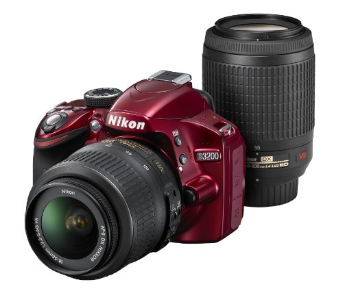 Nikon discount duty free Nikon Digital Single-lens Reflex Camera D3200 200mm Double Zoom Kit Comes 18-55mm/55-200mm Red D3200wz200rd