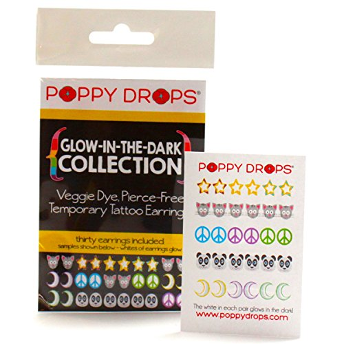 Glow in the Dark Collection - Veggie-Based Temporary Tattoo Earrings. Safe, Non-Toxic Ear Piercing Alternative.