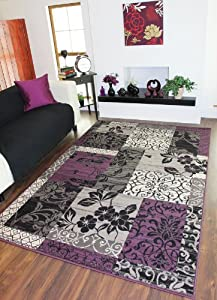 Milan Purple, Black & Grey Patchwork Rug 1568-H33 - 5 Sizes by The Rug House