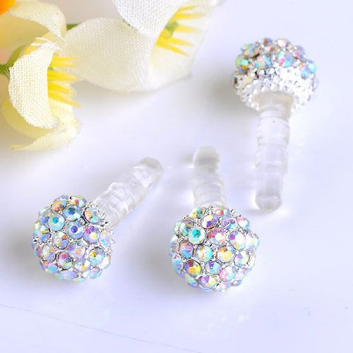 Niceeshop(Tm) Universal 3.5Mm Rainbow Crystal Ball Anti Dust Earphone Jack Plug Stopper For Iphone4/4S/5,Ipod,Ipad, Htc, Samsung S3 I9300/S4 I9500/N7100 Etc