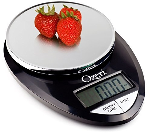 Ozeri Pro Digital Kitchen Food Scale, 1g to 12 lbs Capacity, in Stylish Black (Black, 2) by Ozeri