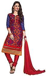 The Desi Attire Women's Chanderi Cotton Unsticthed Dress Material (8108_Blue_40)