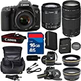 Canon 7D Mark II Digital SLR Camera with EF-S 18-55mm f/3.5-5.6 IS STM Lens + 75-300mm III Zoom + High Speed 16GB Memory Card + High Speed Reader + 8pc Bundle - International Version