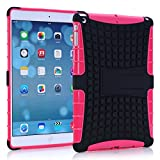 A Fashion Case Shop Ipad Air Case, Ipad Air Case Cover - Ipad 5 Shock-absorption / Impact Resistant Hybrid Dual Layer Armor Defender Protective Case Cover with Built-in Kickstand for Apple Ipad Air 5th Gen 2013 (Three Month Warranty) (Gift for Screen Protector Film and Clean Cloth) (ipad air rose)