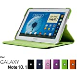 Samsung Galaxy Note 10.1 Case, GMYLE(R) Folio Case 360 for Samsung Galaxy Note 10.1 N8000 - Green PU Leather 360 Degree Rotating Swivel Folio Case Cover (With Adjustable Multi Angle Stand)