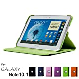 GMYLE Green PU Leather 360 Degree Rotating Swivel Folio Case Cover WithAdjustableMulti AngleStand For Samsung Galaxy Note 10.1 N8000 Tablet