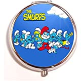 The Smurfs Round Fashion Pill Box Medicine Tablet Holder Organizer Case For Pocket Or Purse - B01G6NF3S8