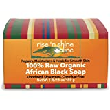 16 Oz Raw African Black Soap - Shea Moisture Body Wash, Shampoo & Face Wash - Homemade Soap with Coconut Oil, Cocoa Pods, Raw Shea Butter and Palm Oil - Helps Clear Skin, Acne, Eczema, Anti-aging