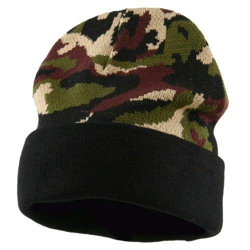 Camo Cuff Knit Cap - Black Cuff W31S12E