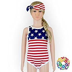 MLSH American Flag Cute Toddler Baby Girls' Summer Outfit PomPom Romper Jumpsuit , m (6-12 months)