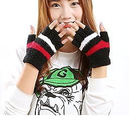 USB 2.0 Fingerless Heated Gloves Stripe Design Winter Warm Plush Laptop Mittens Hand Warmer for Women Teen Girls Christmas Gift (Black)