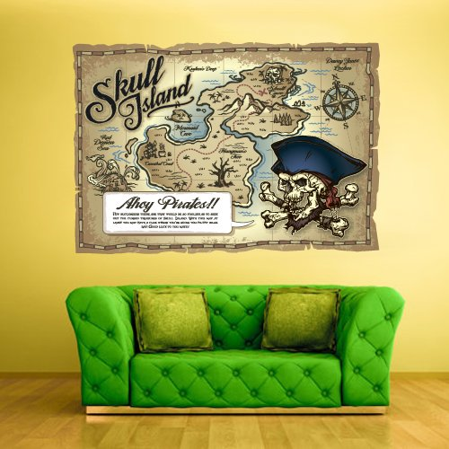 Full-Color-Wall-Decals-Vinyl-Sticker-Decor-Art-Bedroom-Design-Kids-Nursery-Art-Poster-Pirates-Ship-Old-Antique-Map-Col545