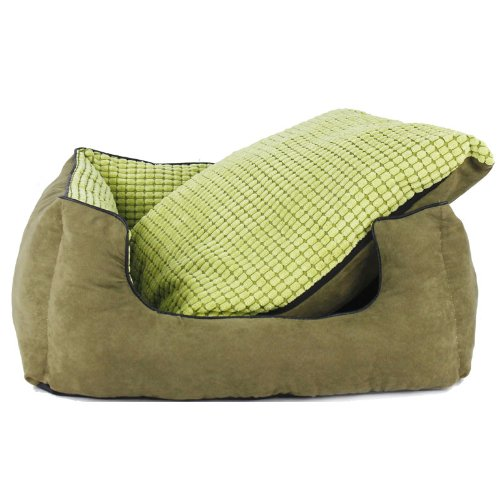 Colorfulhouse Corn Kernels Suede Sofa Pet Bed Warm Dog Bed with Removable Washable Cover + Free Pillow (Green, Large)