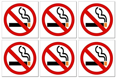 """6 """"No Smoking"""" Vinyl Decal Stickers with Rare 4-Color No Smoking Logo; 3 X 3 Inches for Windows, Doors & Walls, etc. with Adhesive on Back of Label"""