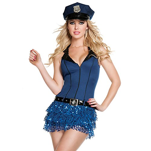 Lovery Valley Women's Plus Size Blue Sexy Police Dress Halloween Costumes