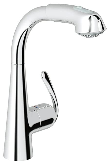 Grohe 33 893 00E Ladylux3 Plus WaterCare Main Sink Dual Spray Pull-Out Kitchen Faucet, StarLight Chrome