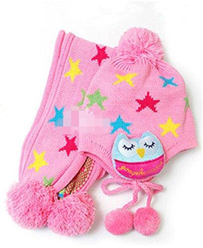 songqeetm-cut-owl-star-winter-warm-baby-girls-wool-hat-scarf-set-knitted-hat-scarf-set-pink