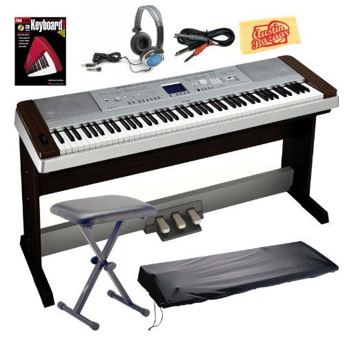 Yamaha DGX640W Digital Piano Bundle with Bench, 3-Pedal System, Dust Cover, Audio Cable, Headphones, Instructional Book, and Polishing Cloth – Walnut